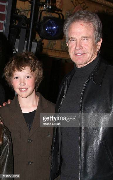 Warren Beatty and son Benjamin during Warren Beatty and Annette Bening visit Spring Awakening April 6 2007 at The Eugene O'Neill Theatre in New York...