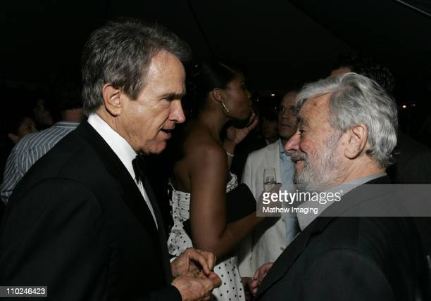 Warren Beatty and Stephen Sondheim during The Hollywood Bowl Celebrates Stephen Sondheim's 75th Birthday Reception at Hollywood Bowl in Hollywood...