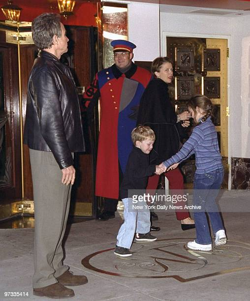 Warren Beatty and wife Annette Benning leave the Russian Tea Room with two of their children Kathlyn and Benjamin 5 Family lunched at the 57th St...