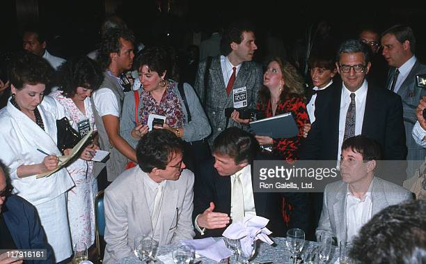 Warren Beatty Donald Trump and Paul Simon during Mike Tyson vs Michael Spinks Fight at Trump Plaza June 27 1988 at Trump Plaza in Atlantic City New...
