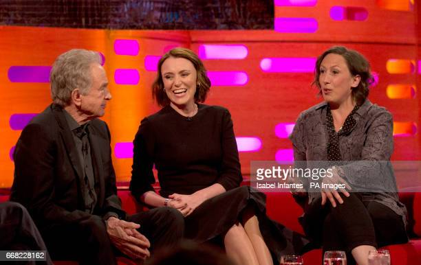 Warren Beatty Keeley Hawes and Miranda Hart during the filming of the Graham Norton Show at The London Studios to be aired on BBC One on Friday