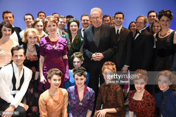 Warren Beatty poses backstage with cast members including Robert Fairchild, Zoe Rainey, Jane Asher, Leanne Cope, David Seadon-Young, Haydn Oakley and...