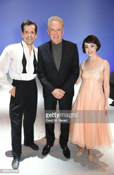 """Warren Beatty poses backstage with cast members Robert Fairchild and Leanne Cope of the West End production of """"An American In Paris"""" at the Dominion..."""