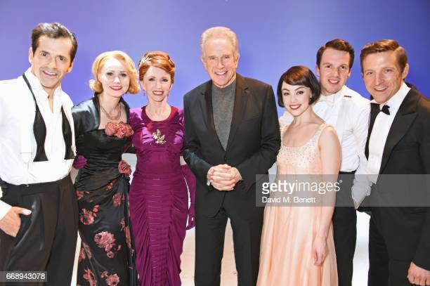 Warren Beatty poses backstage with cast members Robert Fairchild, Zoe Rainey, Jane Asher, Leanne Cope, David Seadon-Young and Haydn Oakley of the...