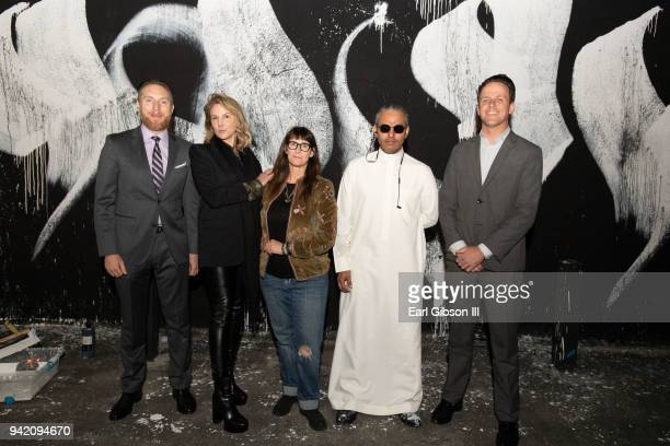 Warren Brand Holly Purcell Cindy Schwarzstein Nu Gamshi and Boomer Welles attend Misk Art Institute Presents KSA/LAXA One Day Exhibition on April 4...