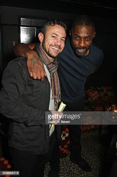 Warren Brown and Idris Elba attend Idris Elba's preBAFTA party at Black Dice on February 12 2016 in London England