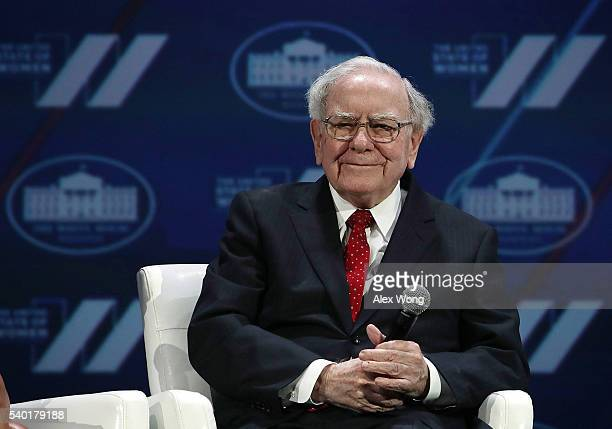 Warren Buffet participates in a discussion during the White House Summit on the United State Of Women June 14, 2016 in Washington, DC. The White...