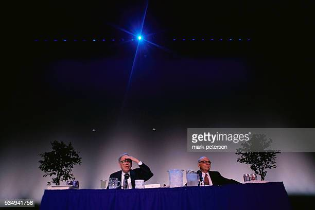 CEO Warren Buffett and Chairman of the Board Charlie Munger of Berkshire Hathaway speak at the company's annual shareholders' meeting Berkshire...