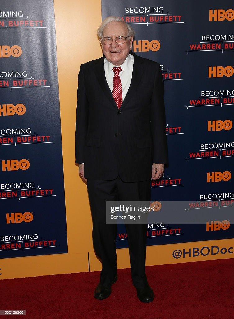 Warren Buffett attends 'Becoming Warren Buffett' World premiere at The Museum of Modern Art on January 19, 2017 in New York City.