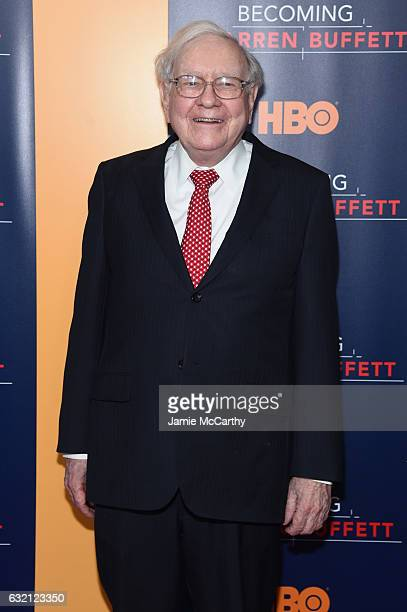 Warren Buffett attends the 'Becoming Warren Buffett' World Premiere at The Museum of Modern Art on January 19 2017 in New York City