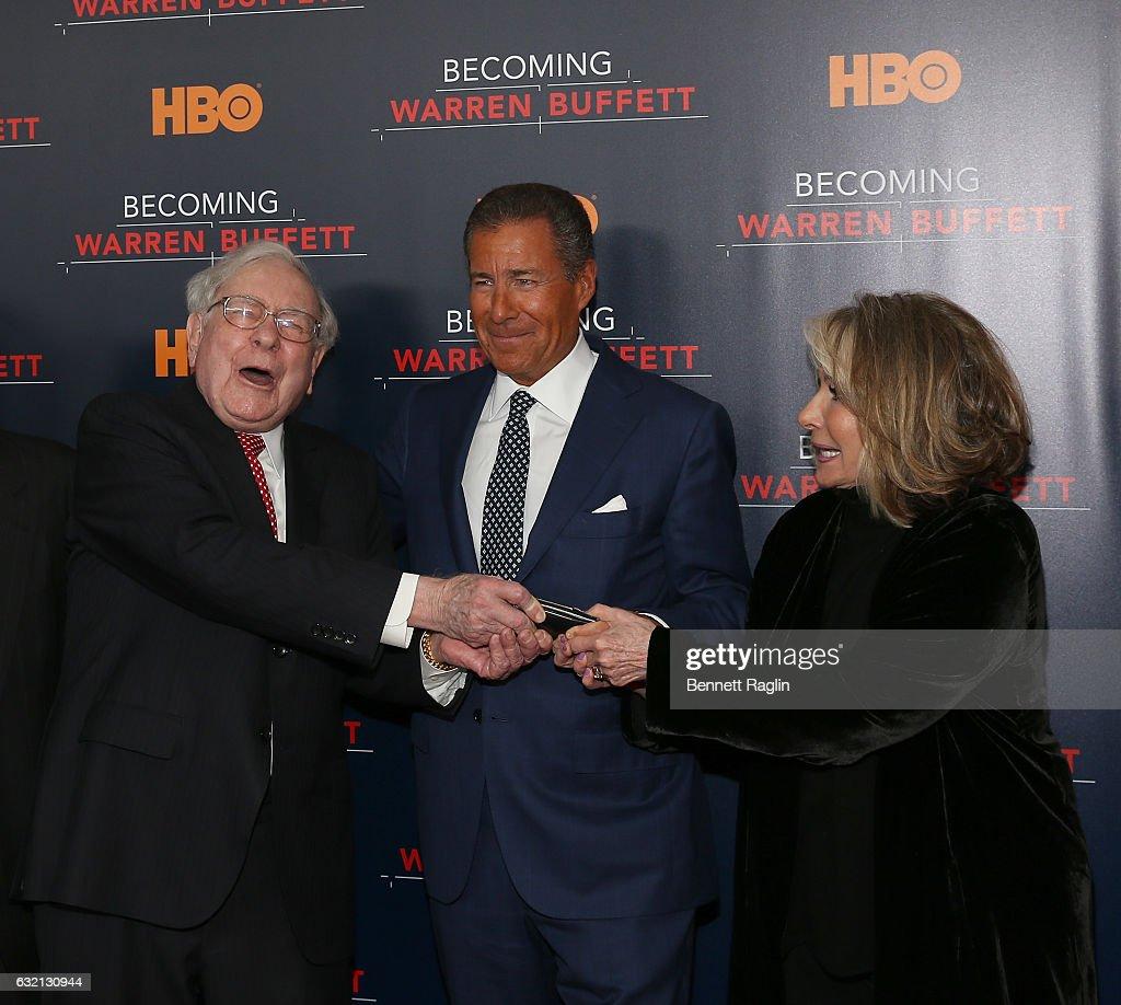 Warren Buffett, CEO of HBO Richard Plepler, and President of HBO Documentary Films Shiela Nevins attend 'Becoming Warren Buffett' World premiere at The Museum of Modern Art on January 19, 2017 in New York City.