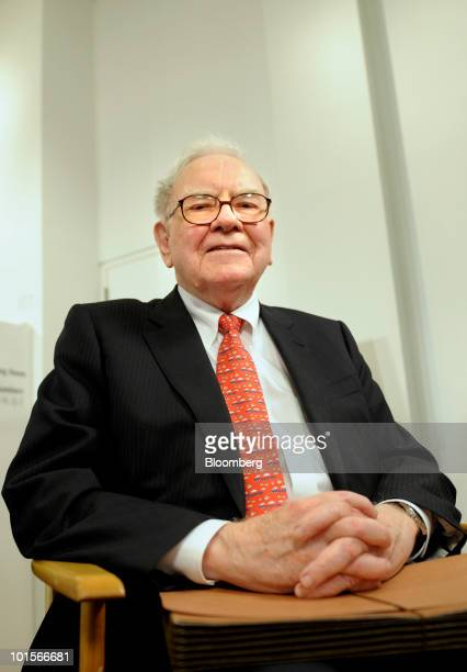 Warren Buffett chairman and chief executive officer of Berkshire Hathaway Inc gets ready for a television interview before a hearing of the Financial...