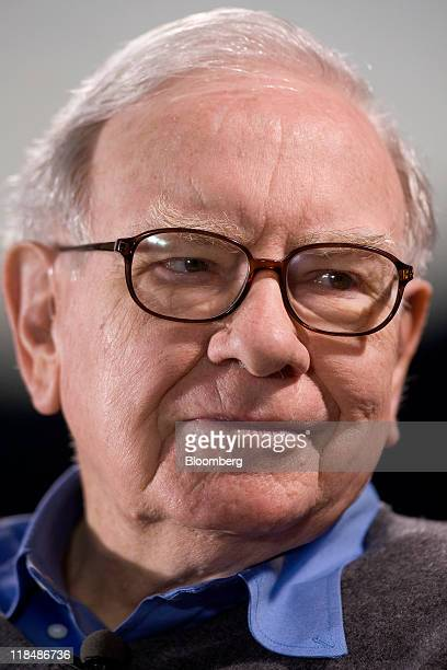 Warren Buffett chairman and chief executive officer of Berkshire Hathaway Inc listens during an interview with Bloomberg via Getty Images Television...