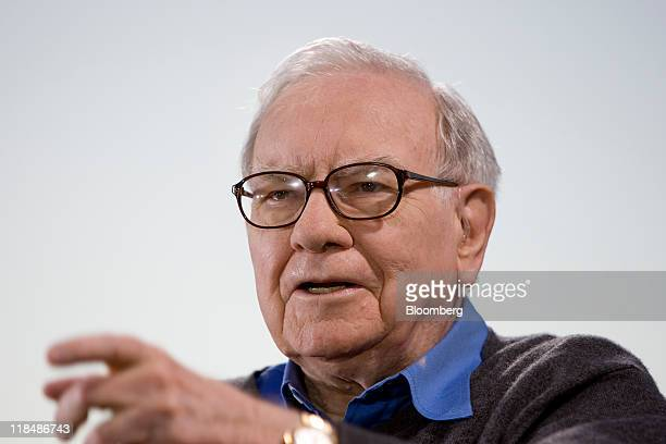 Warren Buffett chairman and chief executive officer of Berkshire Hathaway Inc speaks during an interview with Bloomberg via Getty Images Television...