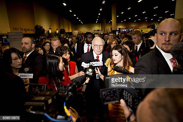 Warren Buffett chairman and chief executive officer of Berkshire Hathaway Inc speaks to members of the media during the Berkshire Hathaway Inc annual...
