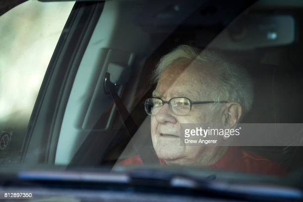 Warren Buffett chairman and chief executive officer of Berkshire Hathaway Inc waits in the car while someone else checks into the resort for him on...