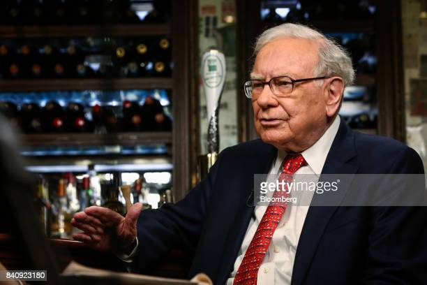 Warren Buffett, chairman and chief executive officer of Berkshire Hathaway Inc., speaks during a Bloomberg Television interview in New York, U.S., on...