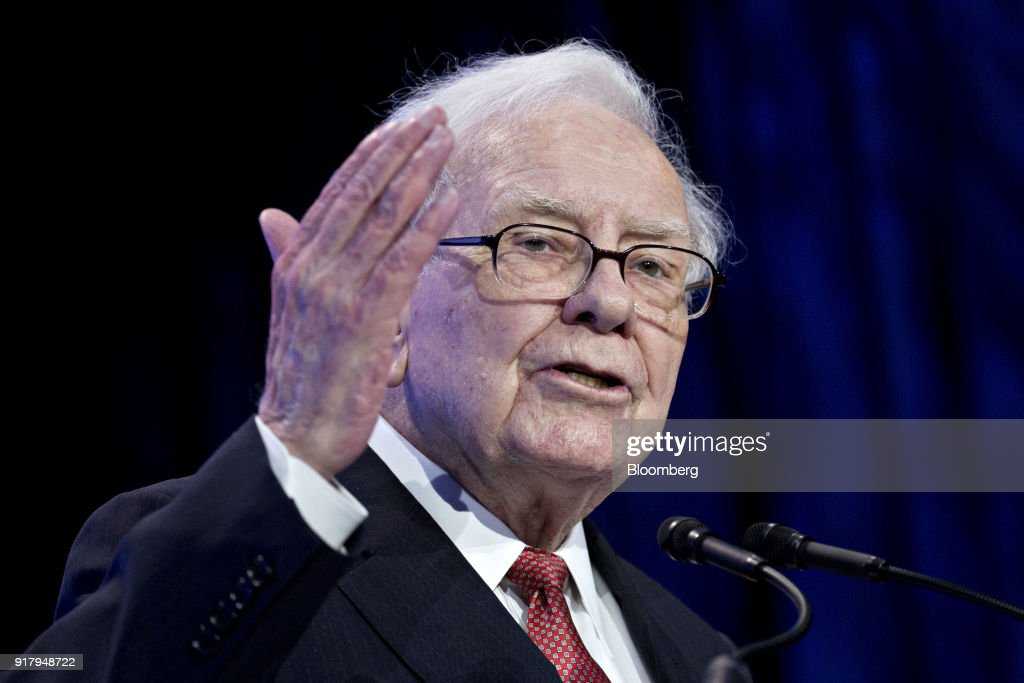 Warren Buffett, chairman and chief executive officer of Berkshire Hathaway Inc., speaks at the Goldman Sachs 10,000 Small Businesses Summit in Washington, D.C., U.S., on Tuesday, Feb. 13, 2018. Goldman's 10,000 Small Businesses is an investment that brings economic opportunity and assists entrepreneurs to create jobs by providing better access to education, capital and business support services. Photographer: Andrew Harrer/Bloomberg via Getty Images