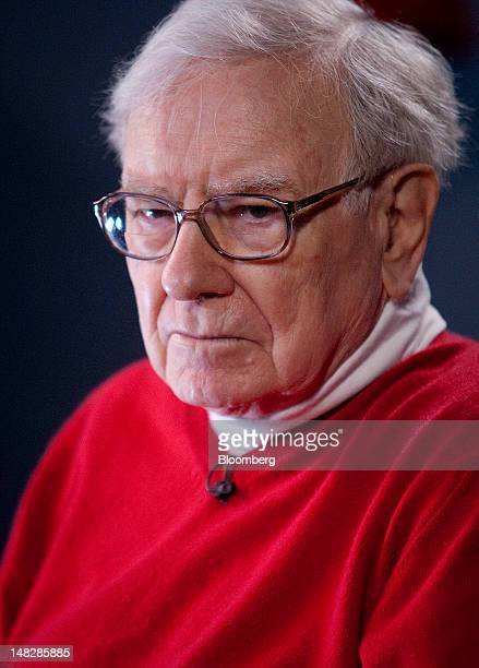 Warren Buffett chairman of Berkshire Hathaway Inc listens during an interview on the sidelines of the Allen Co Media and Technology Conference in Sun...