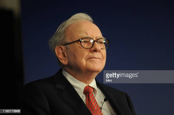Warren Buffett, Chairman of Berkshire Hathway and Trustee of Bill and Melinda Gates Foundation during the press conference at the Hotel Oberoi on...