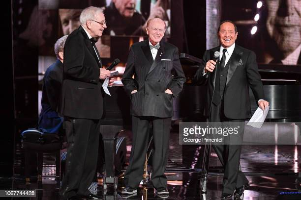 Warren Buffett Jimmy Pattison and Paul Anka attend 2018 Canada's Walk Of Fame Awards held at Sony Centre for the Performing Arts on December 1 2018...