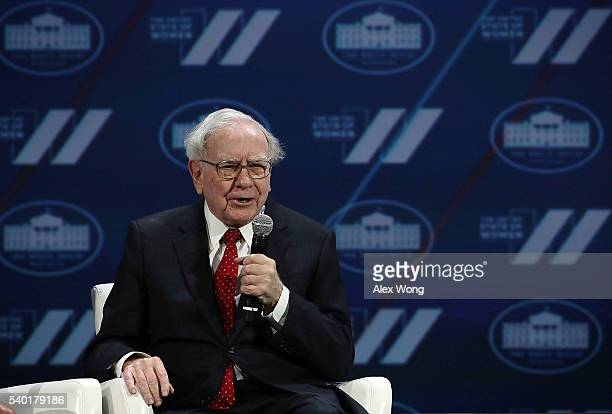 Warren Buffett participates in a discussion during the White House Summit on the United State Of Women June 14, 2016 in Washington, DC. The White...
