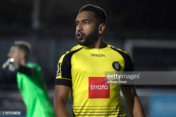 Warren Burrell of Harrogate Town reacts during the FA Cup First Round match between Harrogate Town A.F.C and Portsmouth FC at CNG Stadium on November...