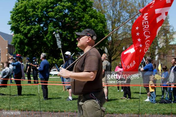Warren City Council Member, Eddie Kabacinski, attends Operation Haircut on May 20, 2020 in Lansing, Michigan. The event was a protest planned by the...