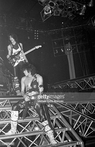Warren DeMartini and Stephen Peary of the rock band 'Ratt' perform onstage in 1991 in Los Angeles California