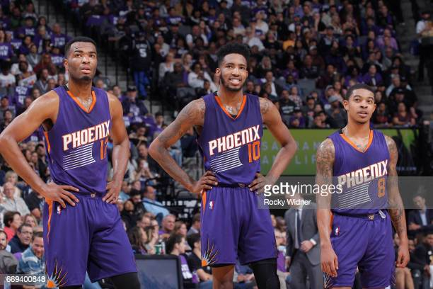 Warren Derrick Jones Jr #10 and Tyler Ulis of the Phoenix Suns look on during the game against the Sacramento Kings on April 11 2017 at Golden 1...