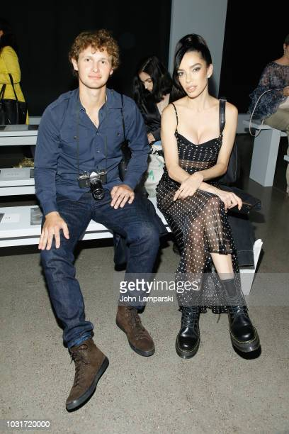 Warren Elgort and Claudia Salinas attend the Hogan McLaughlin front Row during New York Fashion Week The Shows at Gallery II at Spring Studios on...