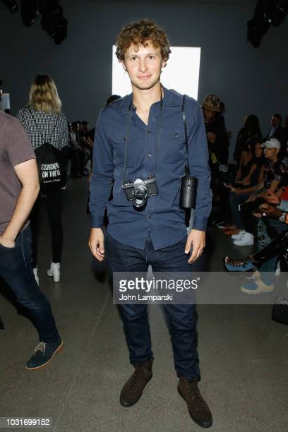 Warren Elgort attends the Hogan McLaughlin front Row during New York Fashion Week: The Shows at Gallery II at Spring Studios on September 11, 2018 in...