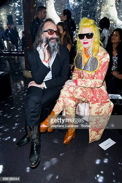 Warren Ellis and Pam Hogg attend the Vivienne Westwood show as part of the Paris Fashion Week Womenswear Spring/Summer 2016 on October 3 2015 in...