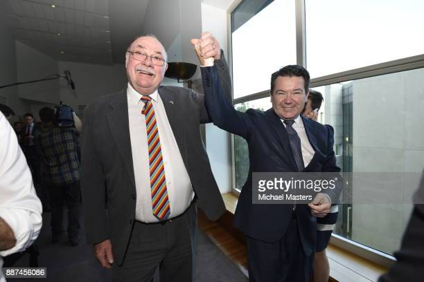 Warren Entsch and Dean Smith celebrate the passing of the marriage equality bill on December 7 2017 in Canberra Australia The historic bill was...