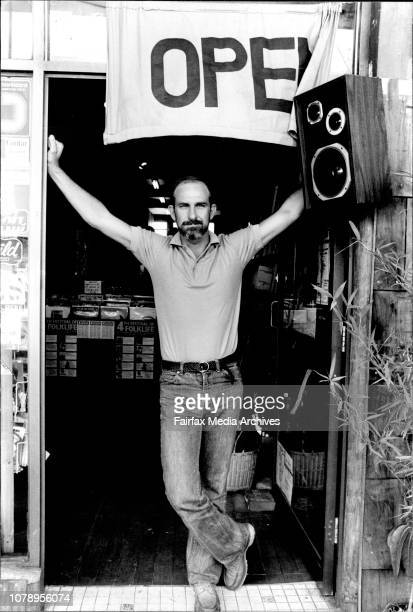 Warren Fahey head of Larrikin Records photograph in his office and shop located at Folkways music January 08 1981