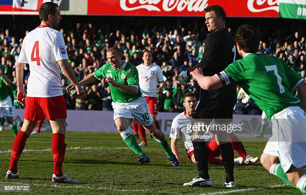 Warren Feeney of Northern Ireland celebrates scoring the first goal during the FIFA2010 World Cup Qualifier match between Northern Ireland and Poland...