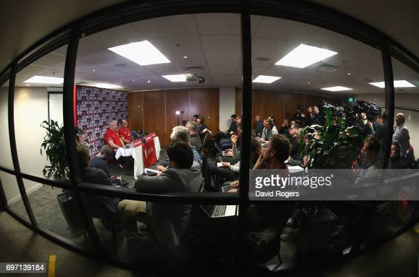 Warren Gatland and Rory Best of the Lions faces the media in a cramped conference room during the British Irish Lions media session at on June 18...