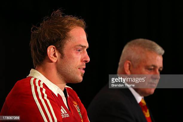 Warren Gatland coach of the Lions and captain Alun Wyn Jones speaks to the media during the press conference following the International Test match...