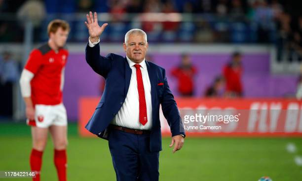 Warren Gatland head coach of Wales ahead of the Rugby World Cup 2019 SemiFinal match between Wales and South Africa at International Stadium Yokohama...