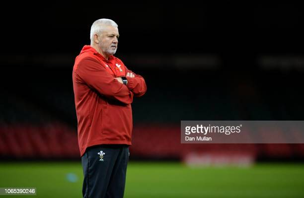 Warren Gatland Head Coach of Wales looks on during the Wales Captain's Run at the Principality Stadium on November 09 2018 in Cardiff Wales
