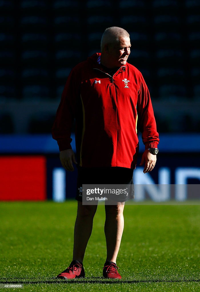 Warren Gatland, Head Coach of Wales looks on during the Wales Captain's Run ahead of the 2015 Rugby World Cup Pool A match against Australia at Twickenham Stadium on October 9, 2015 in London, United Kingdom.