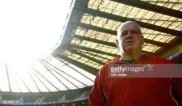 Warren Gatland Head Coach of Wales looks on during the Wales Captain's Run ahead of the 2015 Rugby World Cup Pool A match against Australia at...