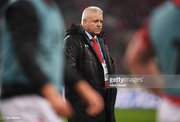 Warren Gatland head coach of Wales looks on prior to the Guinness Six Nations match between France and Wales at Stade de France on February 01 2019...