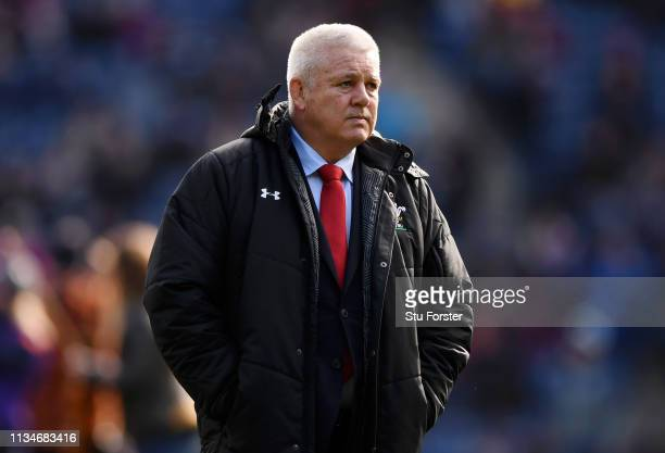 Warren Gatland head coach of Wales looks on prior to the Guinness Six Nations match between Scotland and Wales at Murrayfield on March 09 2019 in...