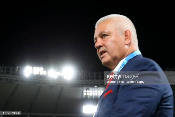Warren Gatland Head of Coach of Wales looks on after the Rugby World Cup 2019 Group D game between Australia and Wales at Tokyo Stadium on September...