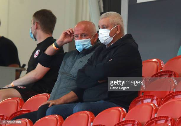 Warren Gatland the British and Irish Lions head coach looks on with Lions logistics manager Alan Phillips during the Gallagher Premiership Rugby...