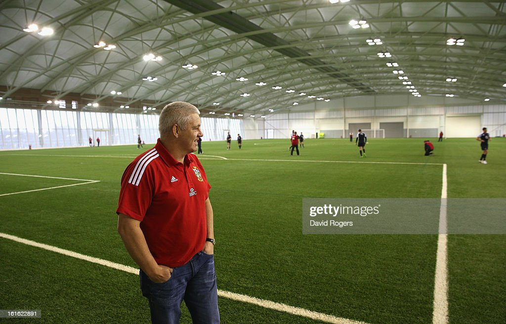 Warren Gatland the British and Irish Lions head coach watches the England team during the England training session held at St Georges Park on February 13, 2013 in Burton-upon-Trent, England.