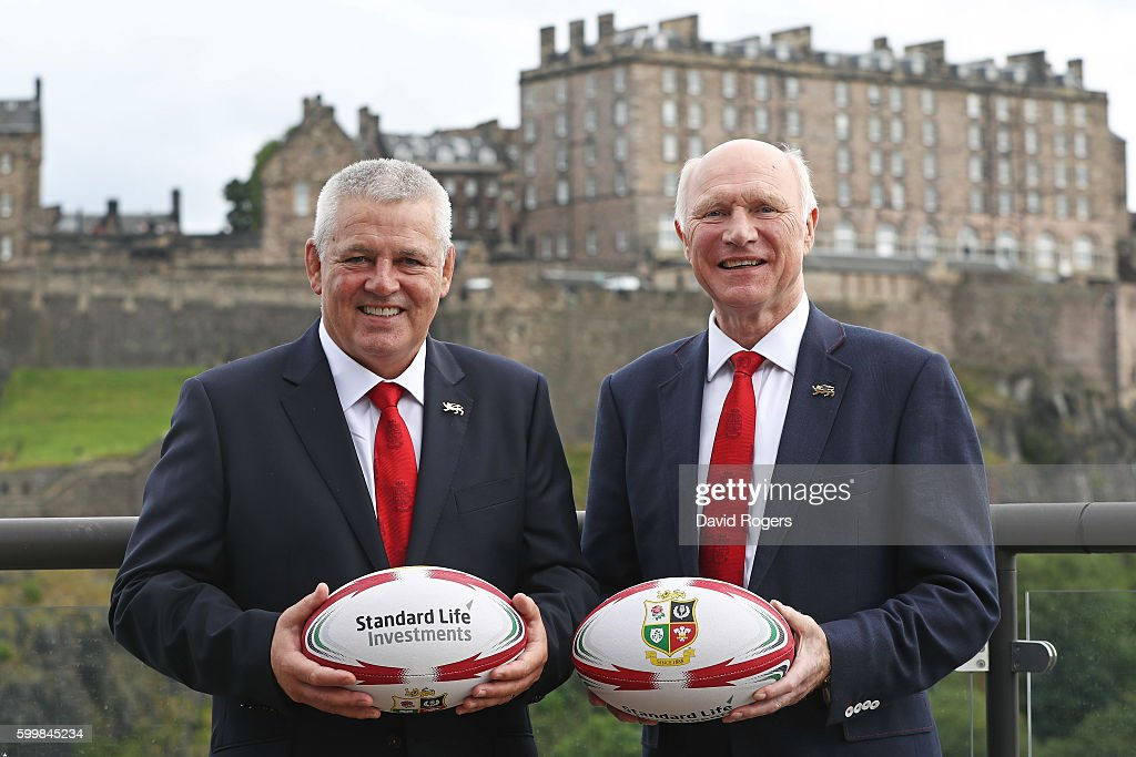 Warren Gatland the Head Coach of the British & Irish Lions and John Spencer the Tour Manager of the British & Irish Lions pose for the cameras following the 2017 Tour to New Zealand announcement during the British and Irish Lions Press Conference at Standard Life House on September 7, 2016 in Edinburgh, Scotland.