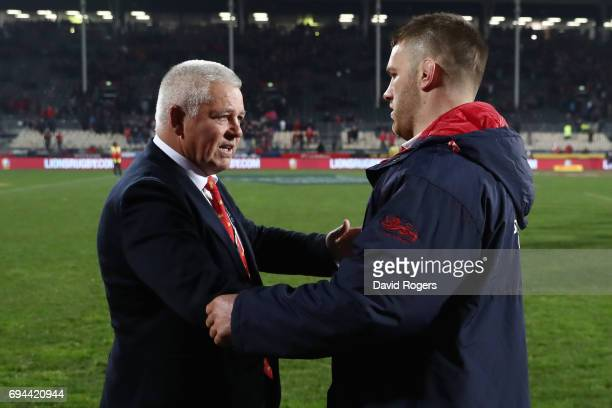 Warren Gatland the head coach of the Lions shakes hands with Sean O'Brien of the Lions following their team's 123 victory during the 2017 British...