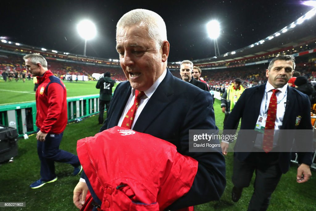 Warren Gatland, the Lions head coach celebrates after his teams victory during the match between the New Zealand All Blacks and the British & Irish Lions at Westpac Stadium on July 1, 2017 in Wellington, New Zealand.